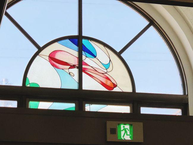 #ステンドグラス #hospital Low Angle View Window Built Structure Architecture Indoors  Multi Colored Day