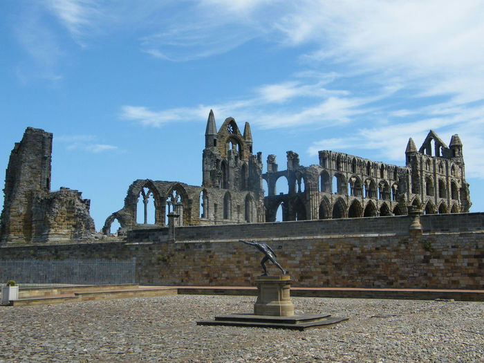 Whitby Abbey Ruins Architecture Ruins Statue Bronze Statue Whitby Abbey Holiday Destination Pedestal Sculpting A Perfect Body Art In The Open Air Sculpture Art On A Pedestal Art