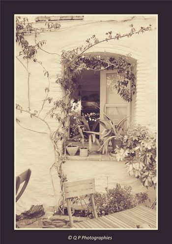 Window Summertime SPAIN Black & White Black And White Collection  Oldpicture Sepiatone