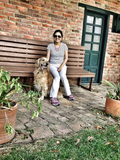 Architecture Brick Wall Built Structure Casual Clothing Day Dog Front View Full Length Golden Retriever Grass Jumping Leisure Activity Lifestyles Outdoors Person Plant Portrait Woman And Dog