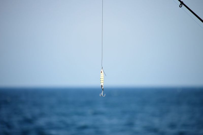 Fishing rod on sea against clear sky