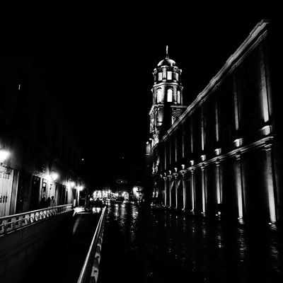 Night Architecture Building Exterior Travel Destinations Built Structure Illuminated City Outdoors Sky Cityscape Blackandwhite Mexico Black & White Transportation Low Angle View Religion Church Querétaro
