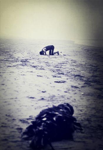 Pray Sujud Near The Beach