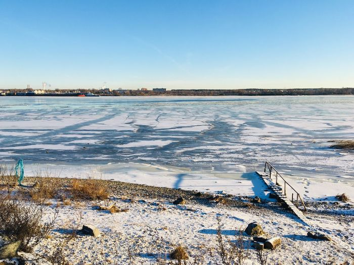 Scenic view of frozen sea against clear sky during winter
