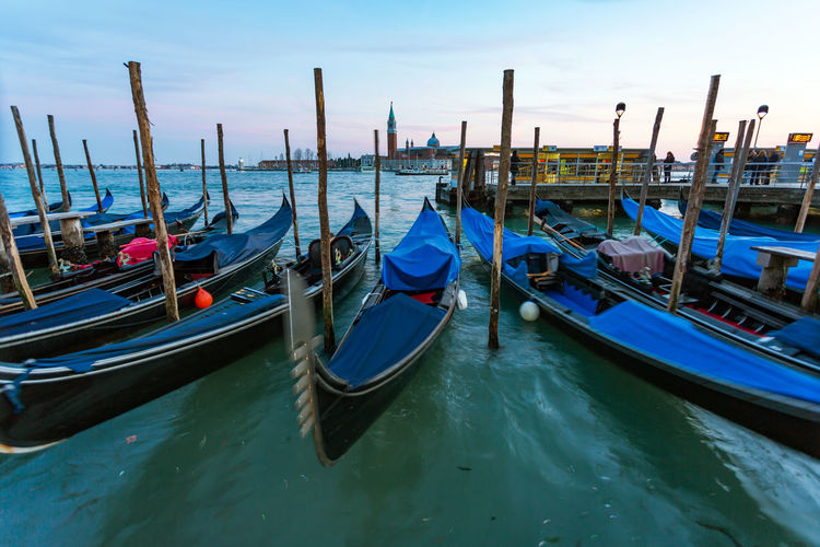 Day Evening Sky Gondola Gondola - Traditional Boat Mode Of Transport Moored Nature Nautical Vessel No People Outdoors Sea Sky Transportation Travel Destinations Venice Water Wooden Post