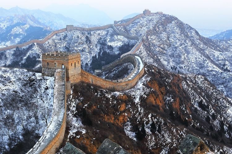 Ancient EyeEmNewHere Great Wall Of China Ancient Architecture Cold Temperature Day Landscape Mountain Mountain Range No People Outdoors Scenics Sky Snow Winter Fresh On Market 2017