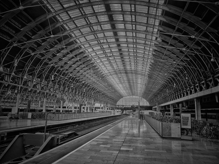 LONDON❤ London Lifestyle Paddington Station, London No People Metal Structure Paddington ❤️ Trainstation Transportation Contrast And Lights Blackandwhite Photography Black And White Friday