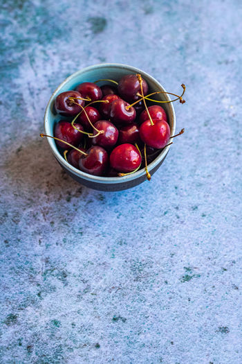High angle view of cherries in bowl on table