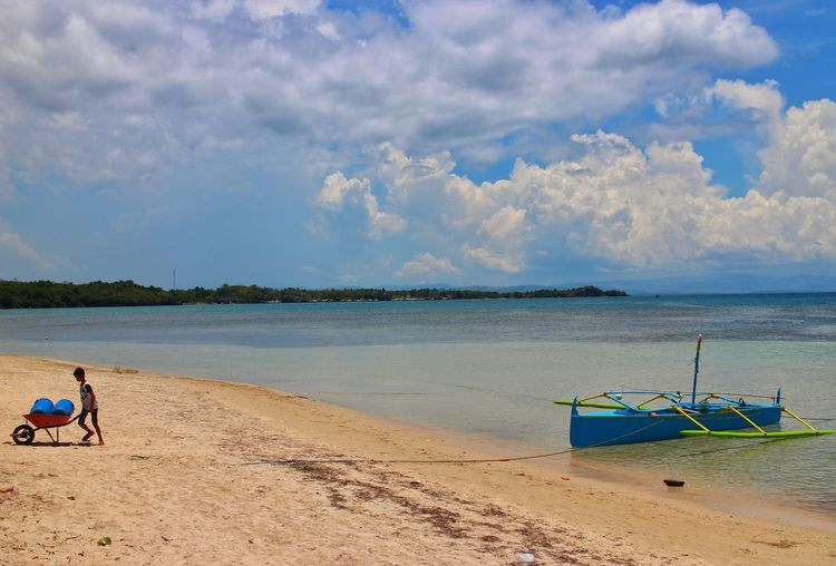 blue everywhere Beach Sand Sea Water Sky Day Tranquility Outdoors Summer Blue Nature Vacations Landscape Horizon Over Water Shore Boat Philippines Pangasinan