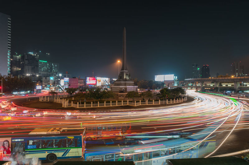 Victory Monument Square at Night / Bangkok Mobility In Mega Cities Wanderlust Architecture City Cityscape Illuminated Landscape Light Trail Long Exposure Motion Night Outdoors Colour Your Horizn