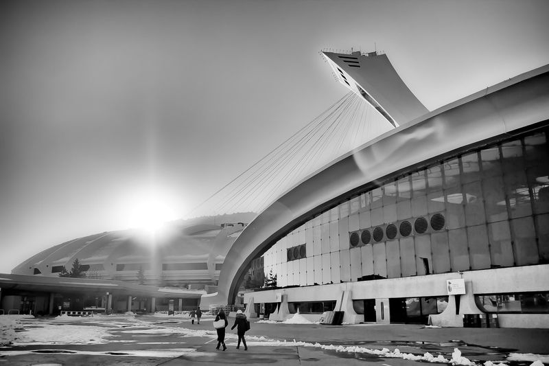 Almost sci-fi! Architecture Biodome Black & White Black And White Black'n'white  Building Exterior Built Structure City Life Concrete Concrete Buildings Design Engineering Fine Art Photography Futuristic Montreal Olympic Park Montreal Street Olympic Park  Olympic Stadium Snow Sun Sun Flare Urban Wide Angle Winter