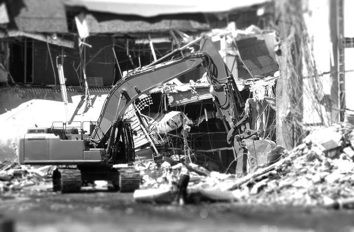 Demolition Excavator Tilt Shift Monochrome Blackandwhite Construction Machinery Heavy Machinery