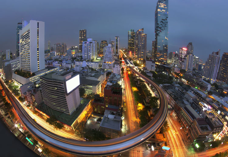 Bangkok the city never sleep on skyscraper Bangkok Business Skyline Thailand Twilight Architecture Building Buildings City City Life Cityscape Glowing Illuminated Landmark Long Exposure Metropolitan Modern Nature Outdoors Rushhour Skyscraper Skytrain Street Tower Transportation