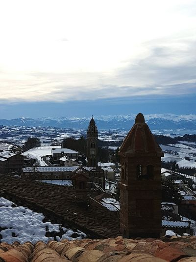 Architecture History Sky City Snow No People Outdoors Travel Destinations Ancient Architecture Italy Monforte D' Alba Bell Tower On The Roofs Camini Cloudy Sky Cloudyday Dramatic Sky Dramatic Day EyeEmNewHere Miles Away