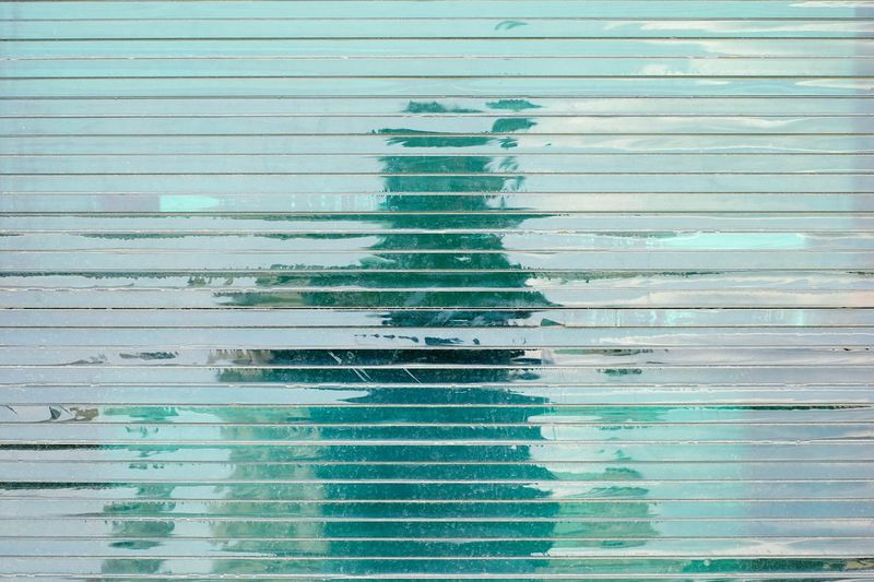 Selfie Time Abstract Lines Glass Shadow Blue Reflection