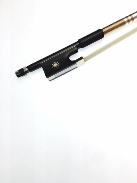 violin bow heel - white surface White Background Single Object Studio Shot No People Close-up Violin Bow Carbon Bow Musical Instrument Instruments Top View Objects Carbon Fiber Technology Modern High Angle View Horseair Mother Of Pearl Inlay