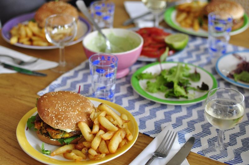 Close-Up Of Hamburger And Fries In Plate