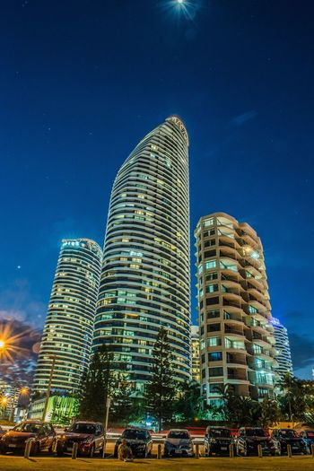 The Architect - 2017 EyeEm Awards Architecture Car Sky Modern Building Exterior Low Angle View Built Structure Blue Night Skyscraper Outdoors City Illuminated No People Clear Sky Neighborhood Map Surfers Paradise, Australia EyeEm Selects Been There.