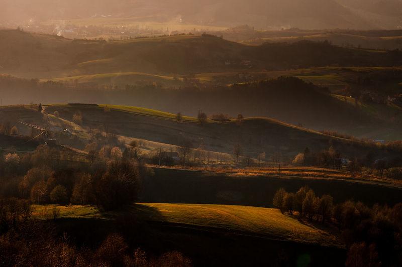 Autumn Colors Autumn Leaves Country Hills Setting Sun Golden Hour Landscape Sunset Valleys