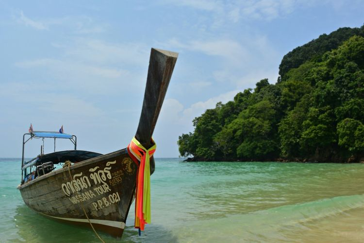 Longtail Boat At Phi Phi Island Against Sky
