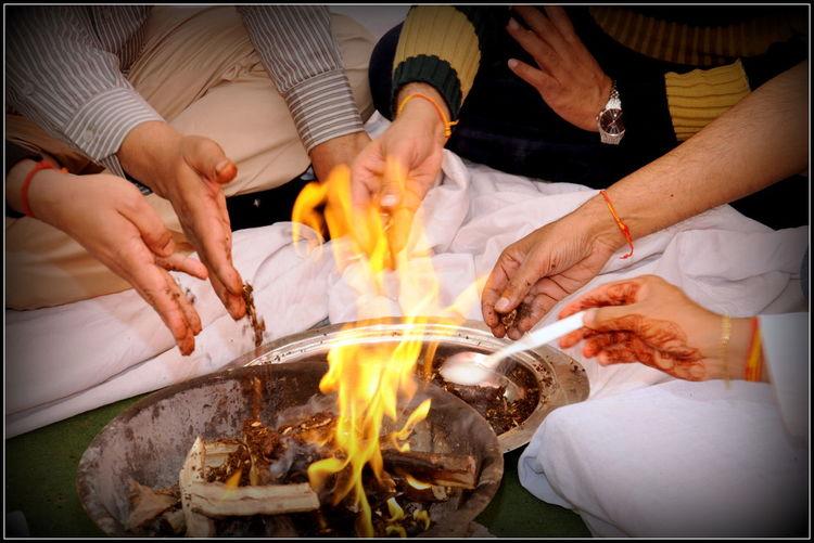Fire Havana Hinduism Homa India Men Offer Pouring Into Fire Rituals & Cultural Sacrifice