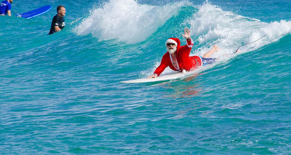 Leisure Activity Santaclaus Sea Surfing Life Surfingsanta Water Wave Xmas