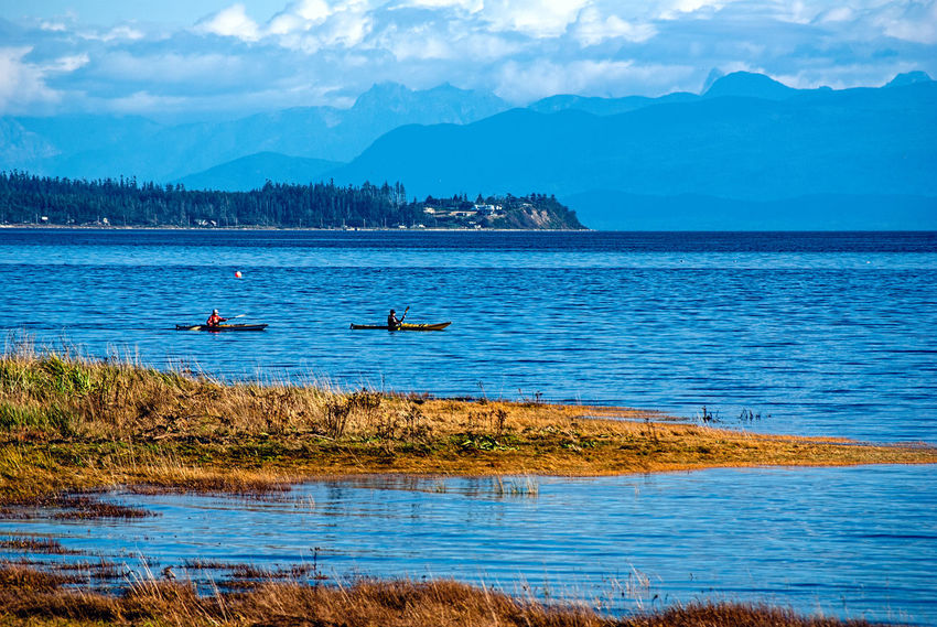 The Beauty of Comox Harbour Adult Adults Only Adventure Beauty In Nature Blue Cloud - Sky Day Kayak Kayaking Is Fun Mountain Nature Nautical Vessel Outdoors People Sea Sky Tree Water