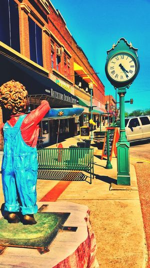 Time is Short Clock Clockwork Clock Tower Clock Structure Boy Overalls Offering Day Daylight Sunny Sunny Day Empty Street Empty Sidewalk Brewing Beer Brewing Company Baloons Signs Business Downtown Downtown District Watertown No People Building Exterior Architecture Outdoors The Week On EyeEm