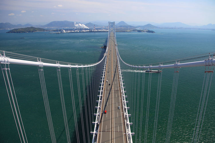 High Angle View Of Suspension Bridge Over Sea Against Sky