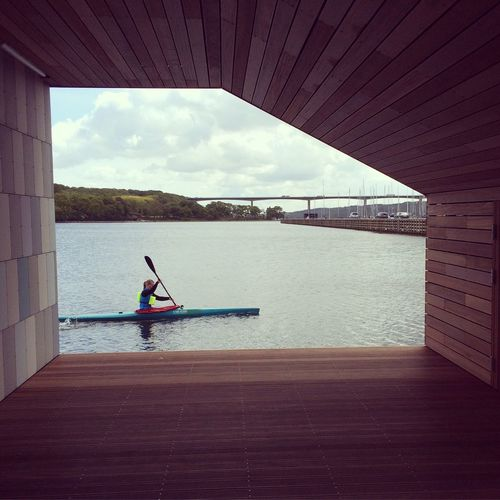 Just a Girl in a Canoe passing by in Vejle Denmark Architectural Detail