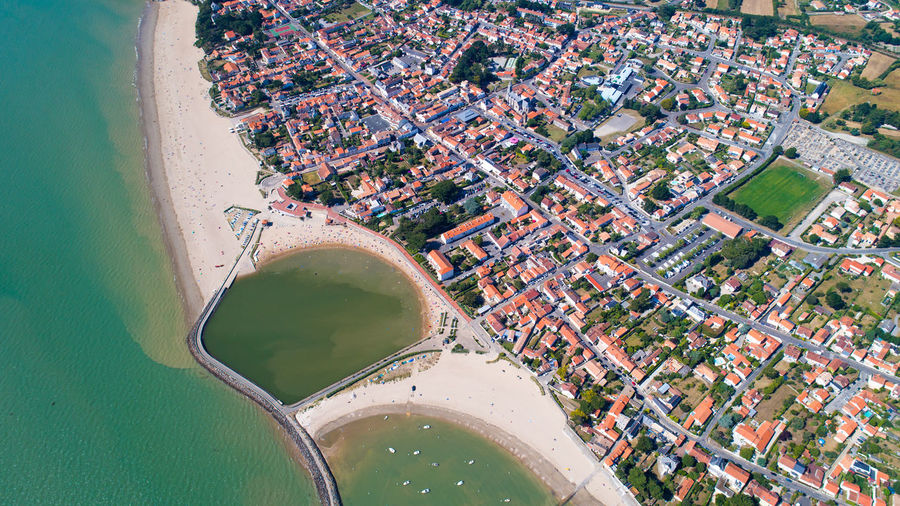 Aerial view of sunny beach in france