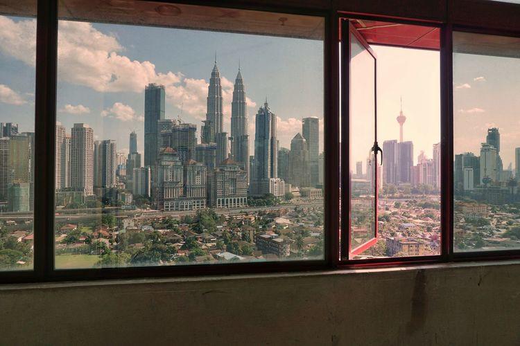 View Kuala Lumpur skyline from windows Vacation Travel Malaysia Kuala Lumpur Office Business Skyline Cityscape Landscape Window