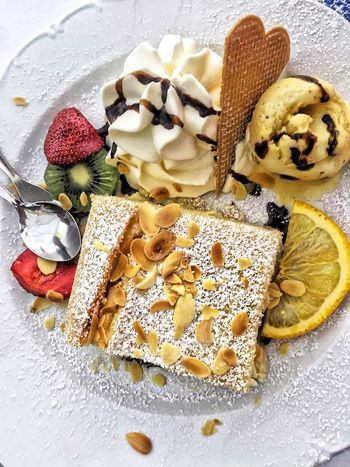 ...goody...! Sweet Food Dessert Food Indulgence Food And Drink Ready-to-eat Cream Fruit Temptation Close-up Gourmet Freshness No People Unhealthy Eating Tart - Dessert Indoors  Dessert Topping