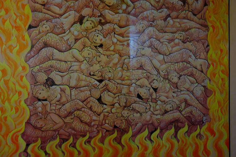 Buddhist Painting of Hell One of many) inside Bodi Tataung Giant Standing Pagoda Bodi Tataung Giant Buddhas Buddha Story Buddhism Buddhist Art Buddhist Culture Composition Famous Place Full Frame Hell Indoor Photography Monywa Myanmmar Painting Picture Religion And Beliefs Travel Destination