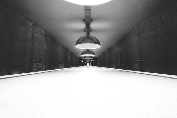 The Way Forward Illuminated Lighting Equipment Indoors  Architecture Tunnel One Person Transportation Real People Built Structure Day People Subway Station Futuristic Architecture Indoors  Station Munich, Germany