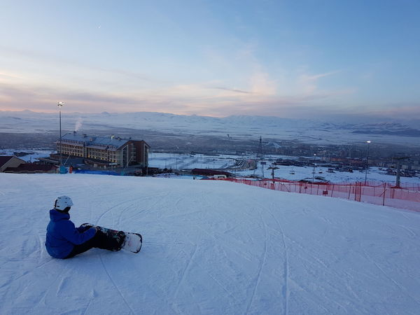 Palandoken mountain, Erzurum, Turkey Erzurum Piste Skiing Slopes Snowboarding Action Backdrop Beauty In Nature Cold Temperature Indoors  Leisure Activity Mountain Nature One Man Only Outdoors Palandoken Sitting Ski Sky Snow Snowboarder Sunset Warm Clothing Weather Winter