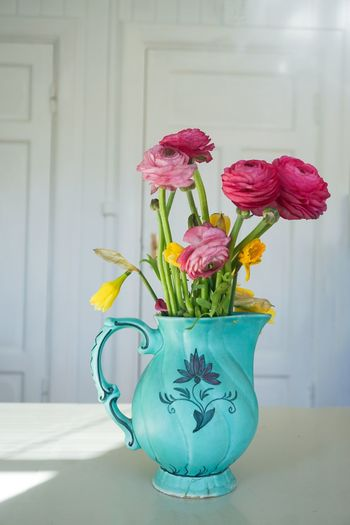 bouquet of springflowers Springtime Spring Flowers Ranunculus Vase White Background Table Bouquet Flower Flower Bouquet Vase Potted Plant Plant In Bloom Bunch Of Flowers Botany Blossom