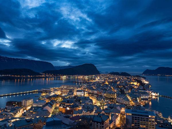 Art Nouveau Architecture City Illuminated Night Night View Nightphotography Norweigian Sea Sky Stunning Ålesund, Norway EyeEmNewHere