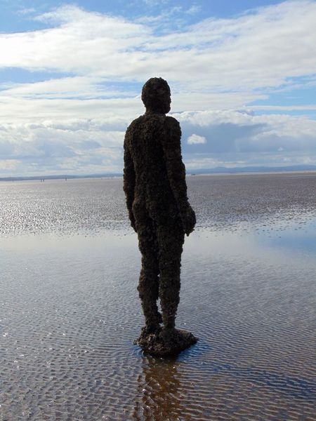 Antony Gormley Beach Beauty In Nature Cloud - Sky Crosby Beach Full Length Horizon Over Water Idyllic Leisure Activity Lifestyles Nature Rear View Scenics Sea Shore Sky Standing Tranquil Scene Tranquility Water