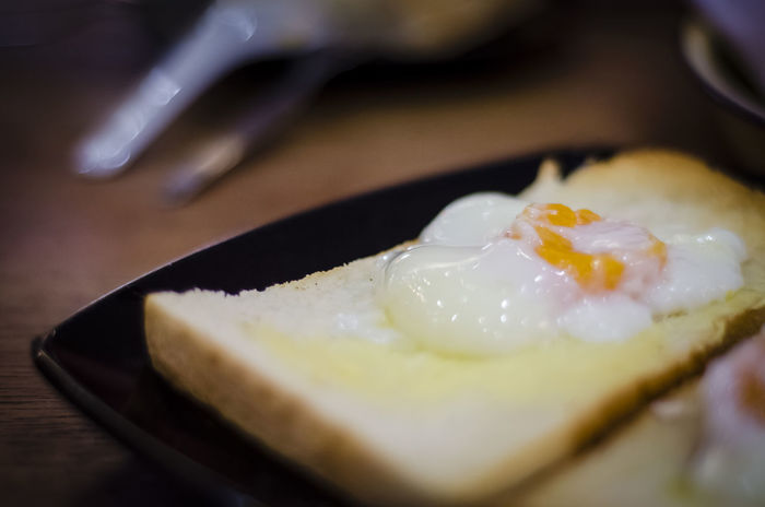 Asian Style Breakfast Close Up Delicious Egg Yolk Food Half Boiled Eggs Half Cooked Healthy Eating Malaysian Style Ready-to-eat Still Life Toasted Bread