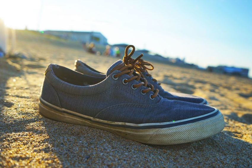 Shoes in the sand Shoe Beach Sand Sunset Summer Relax Sunshine Vacation Sommergefühle