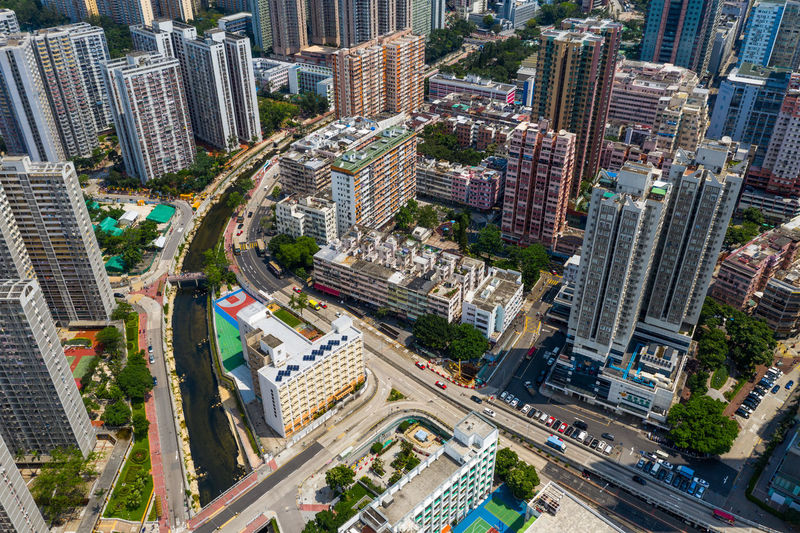 High angle view of city street amidst buildings