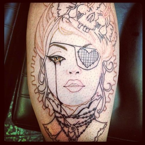 In love with this! Jackatacktat2 Tattoo Victorian Vintage piratw skull bust ruthless feminine badass jack