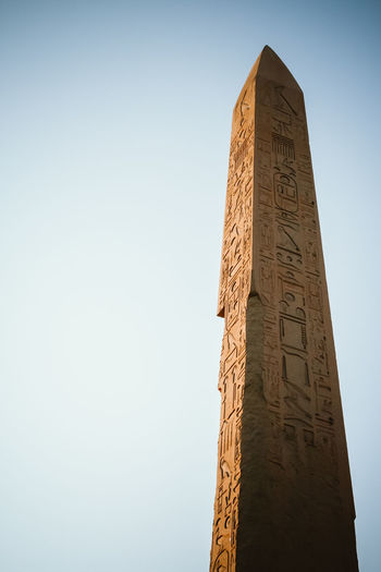 Low angle view of monument against clear sky