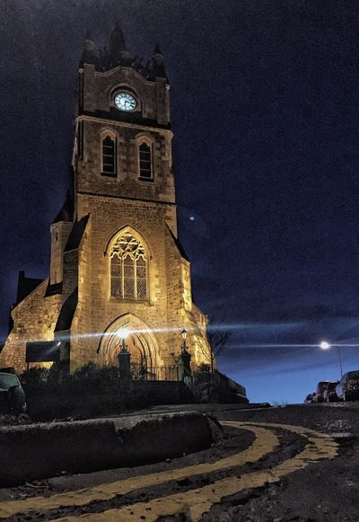 Church At Night  Clock Tower Church Tower Double Yellow Lines