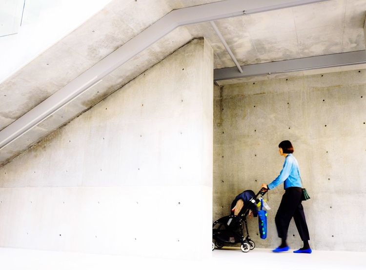 Something blue Architecture Blue Denim Denim Jacket Stroller Motherhood Mother And Baby Concrete Concrete Wall Concretejungle Concrete Design Something Blue Simple Background Copyspace Place Of Heart
