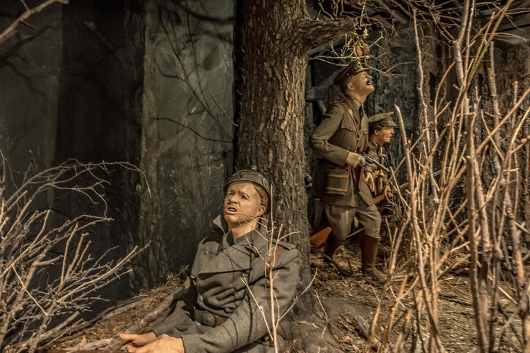 The Military Museums, Calgary, Alberta, Canada Adult Adults Only Beauty In Nature Camouflage Clothing Day Forest Friendship Men Military Uniform Nature Only Men Outdoors People Period Costume Tangled Togetherness Tree Two People Women Young Adult Young Women