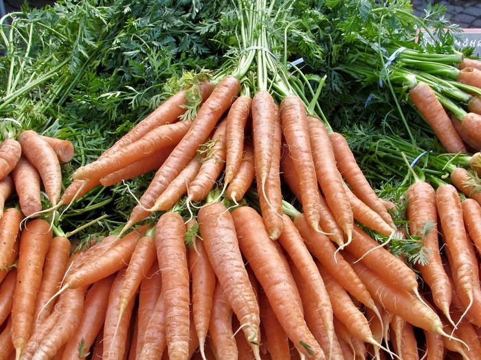 High angle view of carrots in market