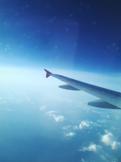 Traveling Travel Travel Photography Traveling By Plane ✈ 😚 A New Beginning Airplane Flying Commercial Airplane Vapor Trail Airshow City Aerospace Industry Blue Air Vehicle Plane Sky Only Heaven Cumulus Cloud