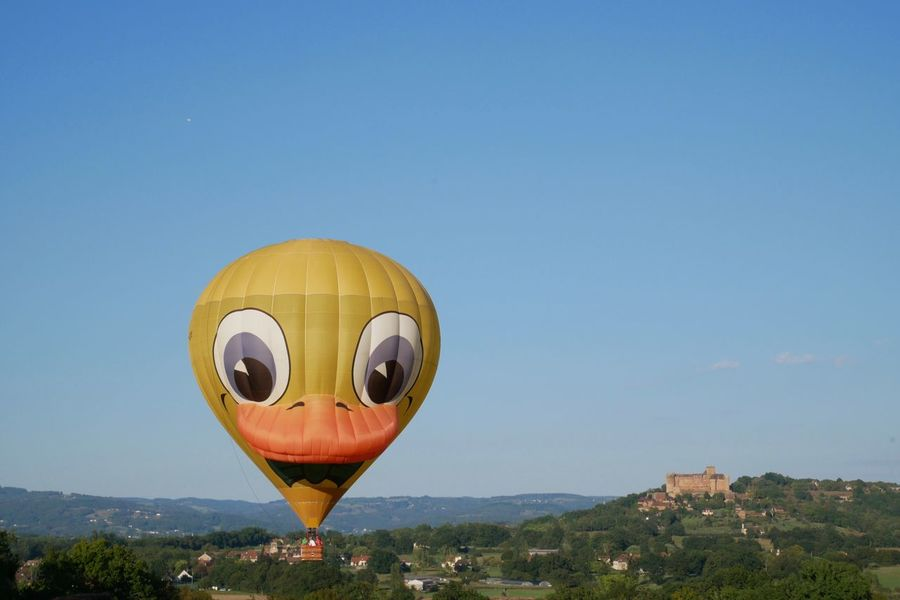 Au pays des canards Hot Air Balloon Blue Clear Sky Flying Yellow No People Adventure Air Vehicle Ballooning Festival Lot Rocamadour France Canard Duck Montgolfière